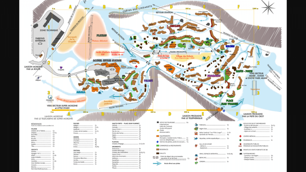 Avoriaz Top Station and Prodains Express Telecabine and accommodation map