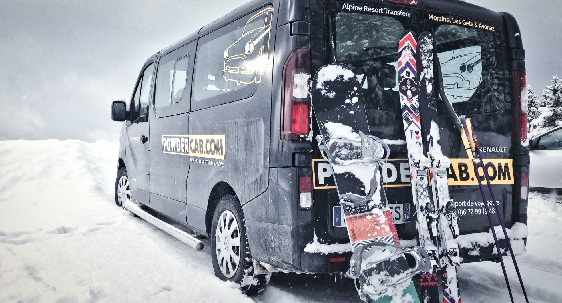 PowderCab van in the snow